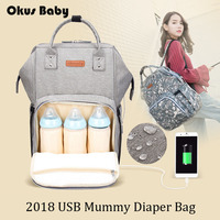 Large Capacity Baby Care Bag New Fashion Mummy Bag Waterproof Surface With USB Diaper Bag Mother Travel Outdoor Nusring Backpack