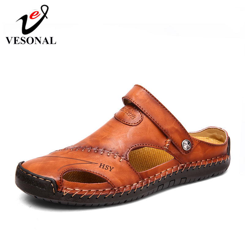 VESONAL Summer Genuine Leather Out door Shoes Men Sandals Handmade Classic For Male Soft Walking Beach Sandalias Sandal Slides(China)