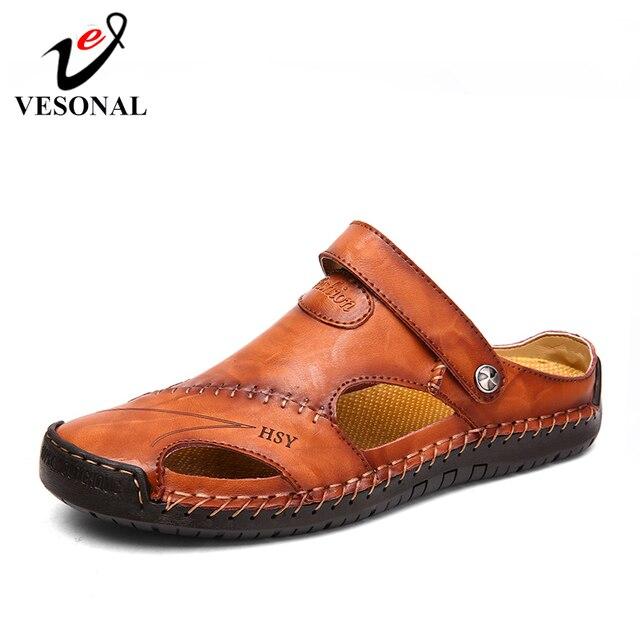 VESONAL 夏の本革アウトドア靴男性サンダル手作り用男性ソフトウォーキングビーチ Sandalias サンダルスライド