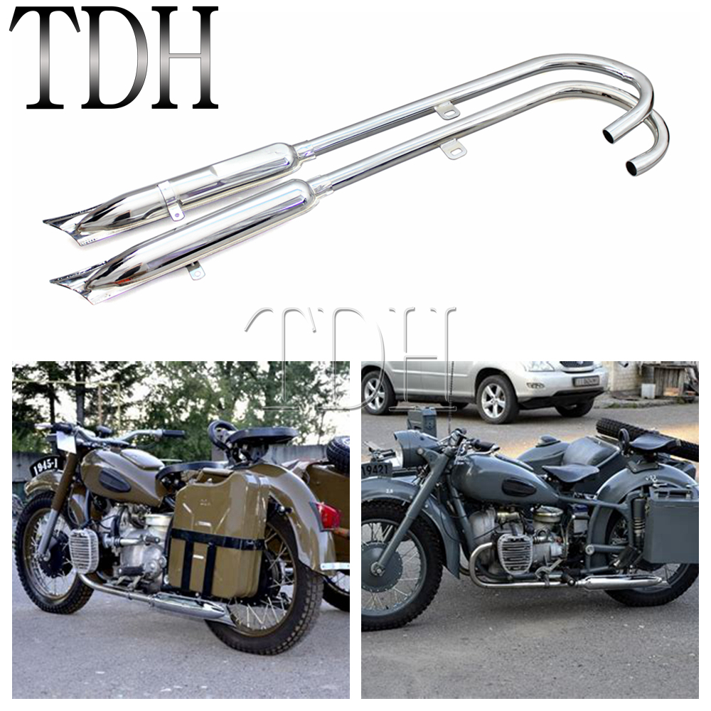 24HP Chrome Motorcycle Fishtail Front Rear Muffler Retro 750cc Exhaust Muffler Pipes For BMW K750 M1