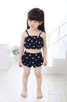 2016 Baby Girls Summer Swimwear Tassel Kids Split Nylon Two Piece Swimsuit Bikini Set