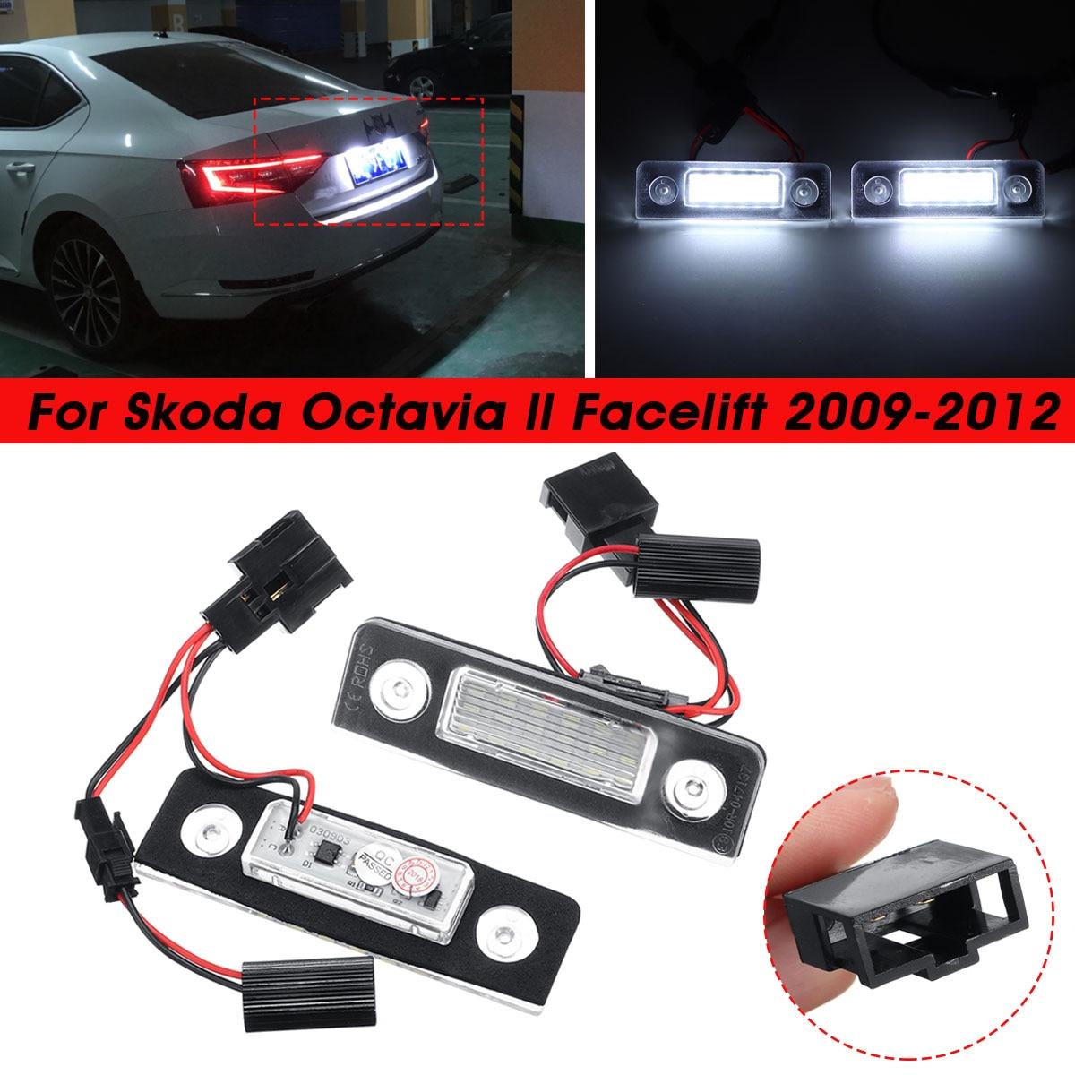 1 Pair Car LED Number License Plate Light For Skoda Octavia 2 Facelift 2009 2010 2011 2012