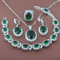 Classic Green Stone  Zirconia Stamped 925 Silver Jewelry Sets Necklace Pendant Earrings Rings Bracelet Free Shipping JQ007