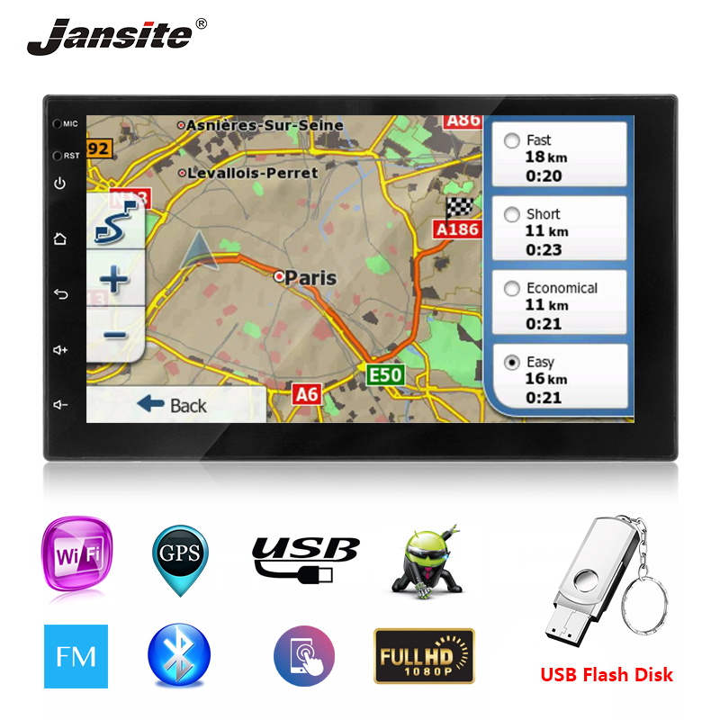 Jansite 7 2 din Car Radio Android 8.1 player GPS Touch screen For ford focus 2 Bluetooth Function car stereo with Backup camera