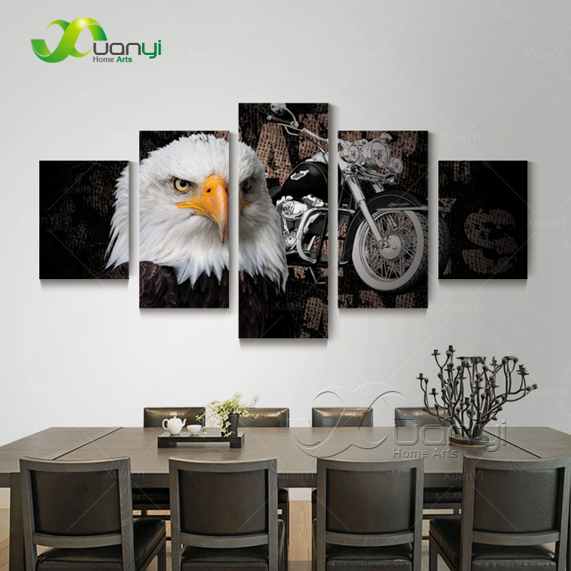 5 Panel Canvas Art HD Printed Eagles Motorcycle Painting Posters Home Decor Wall Art Painting Canvas Print Unframed PR1241
