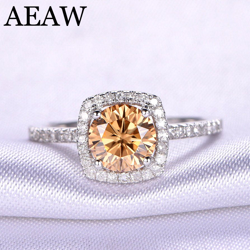 Gorgeous 10K White gold 2 Carat Tea Yellow Color Moissanite Diamond Ring Solitaire Engagement Wedding Ring for Women gorgeous faux crystal colored ring for women
