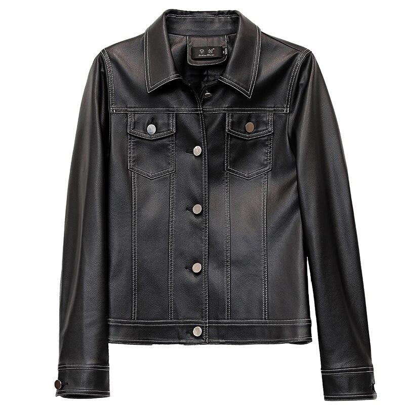 2019 New Womens Faux   Leather   Jackets Coat Ladies Short Slim Soft   Leather   Black Moto Style Jacket Female Clothing Punk Outerwear