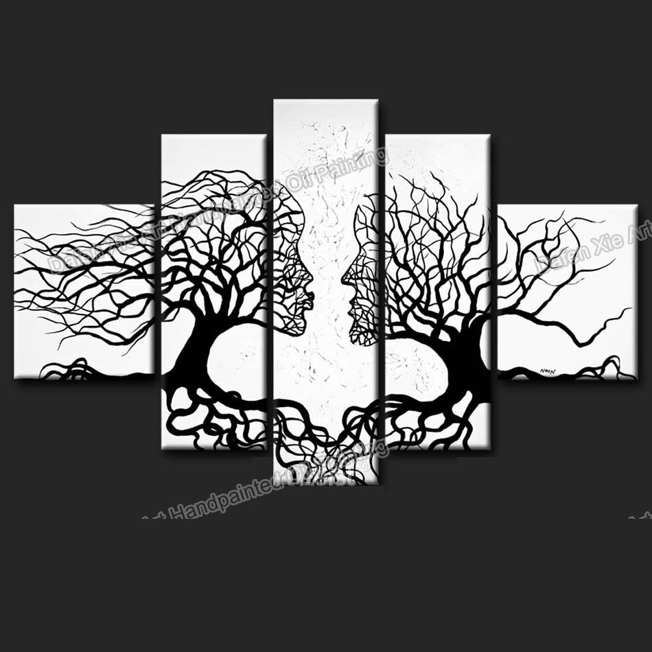 Canvas Art Trees Living Room Wall Black White Office Decor Abstract Tree Oil Painting 5p Set In Calligraphy From