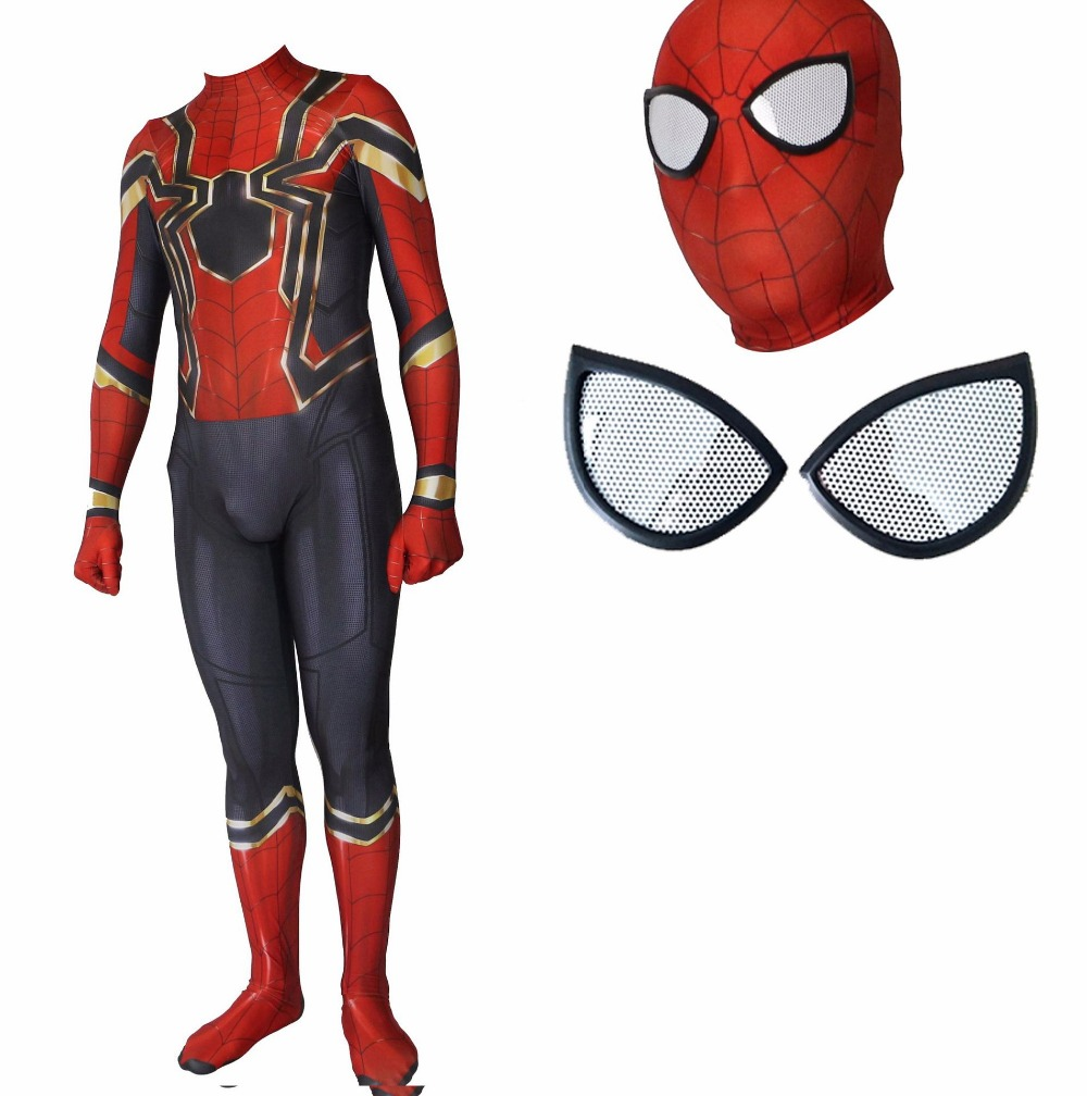 2018 Spider-Man Homecoming Cosplay Costume 3D Printed Spiderman Homecoming Spandex Suit Newest Spidey Bodysuit Custom Made