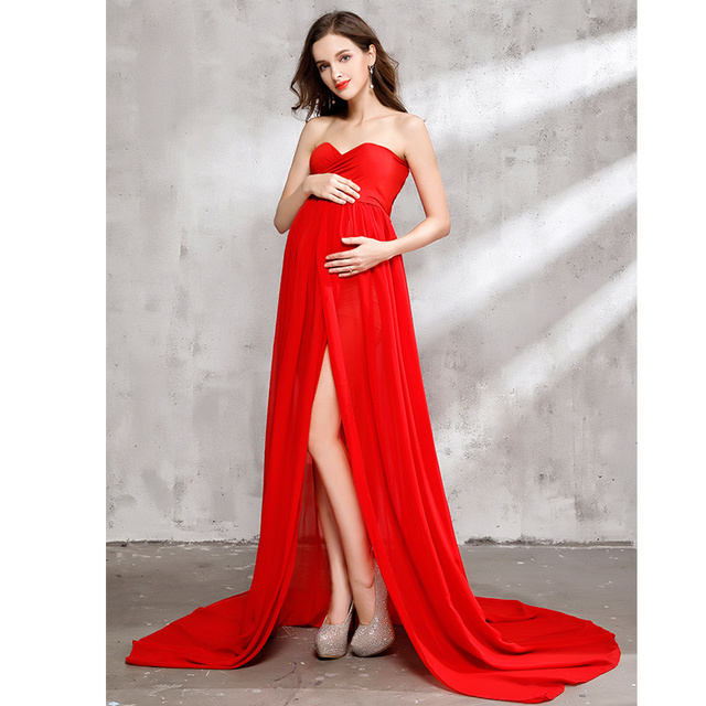 d502f20a1b4 Maternity Dress for Photo Shoot Maxi Maternity Gown Split Front Chiffon  Fancy Sexy Red Women Maternity