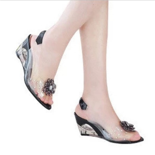 Sandals Wedges-Shoes Rhinestone Open-Toe High-Heel Female Summer 43 40 41 Large Plus-Size