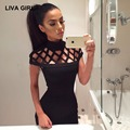LIVA GIRL bandage Hollow dress women 2017 summer Solid color Plus size 5XL vestido Sexy Turtleneck party dresses