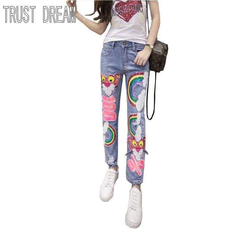 ФОТО TRUST DREAM Spring Summer European Super Girl Slim Jeans Paillette Cartoon Rainbow Hole Ripped Personal Amazing Female Jeans