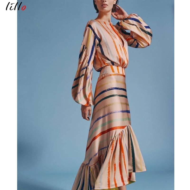 Image 5 - AsymmetricalLantern スリーブストライプドレスファッションカジュアル気質夏ドレスフリル新潮流 2019 ユニークなデザインセクシーなドレス -    グループ上の レディース衣服 からの ドレス の中