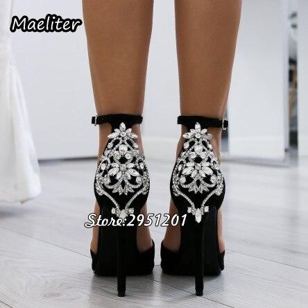 Choudory luxe strass sandales bout ouvert plate-forme chaussures femme cheville boucles fines talons hauts Stiletto Sandalias femmes pompes 42