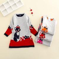 2016 Autumn Winter Children Cartoon Fox Sweater Girls Knit Flower Dress YangXi