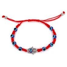 Мульти глаза Хамса рука шарм браслеты для защиты удача Каббала Регулируемый ручной красный шнур нить амулет ребенок