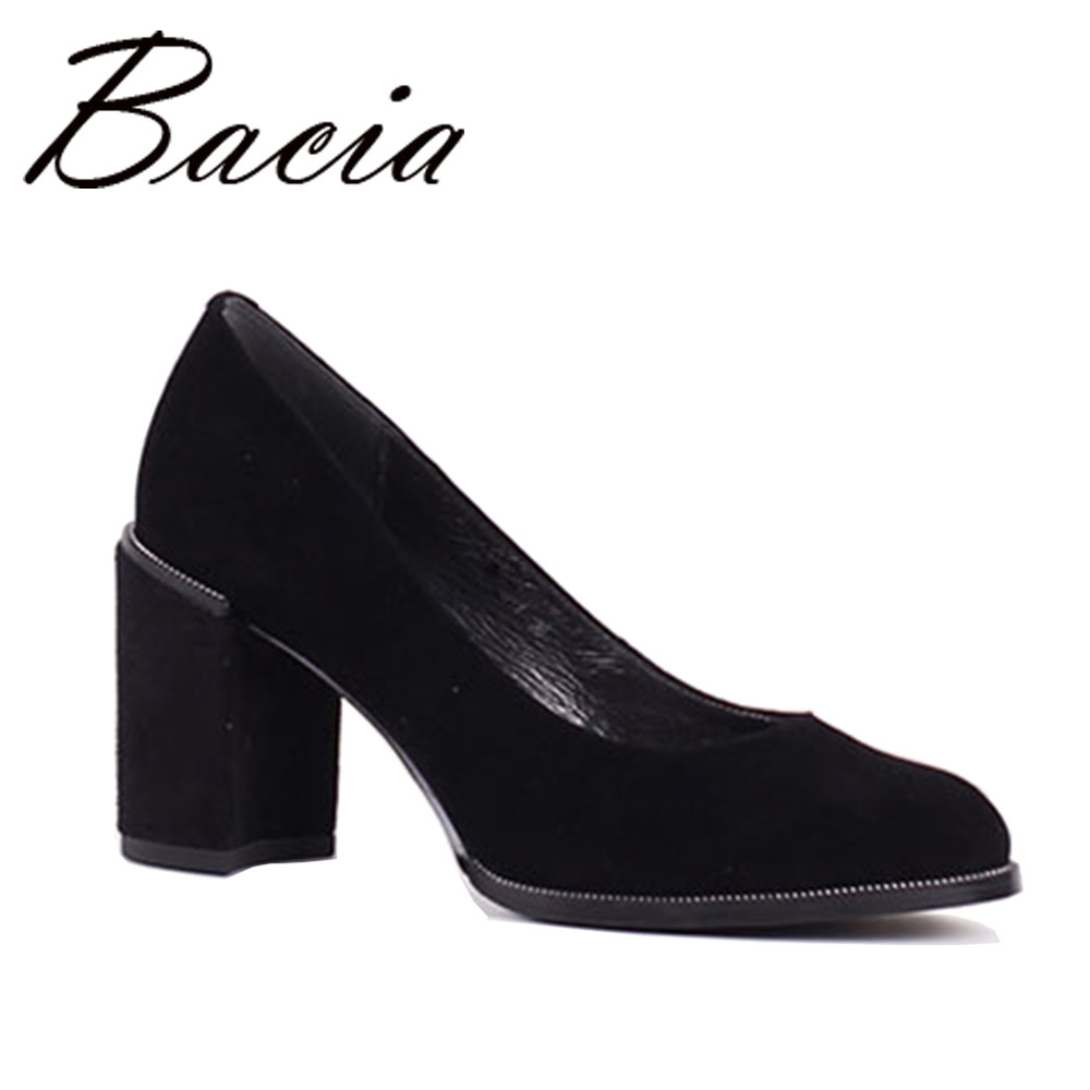 0b29303c7528 Bacia 2017 Fashion Sheep Suede Thick High Heels Round Toe Thich High Heels  Pumps Shoes Sexy