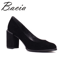Bacia 2017 Fashion Sheep Suede Thick High Heels Round Toe Thich High Heels Pumps Shoes Sexy Genuine Leather Shoe Size36 40 SB032