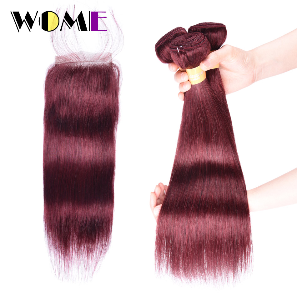 Wome Pre colored 3 Bundles with Closure 99J Burgundy Red Non remy Straight Brazilian Human Hair