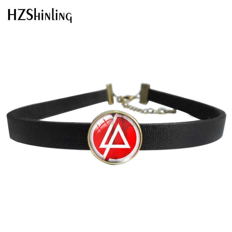 Hzshinling Baru Fashion Kulit Kalung Kalung Linkin Park Merek Kaca Liontin Kalung dan Gelang Perhiasan