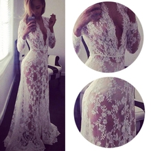 Summer Women Lace Floral Boho Long Maxi Dress Hollow Out Black White Lace V Neck Dress