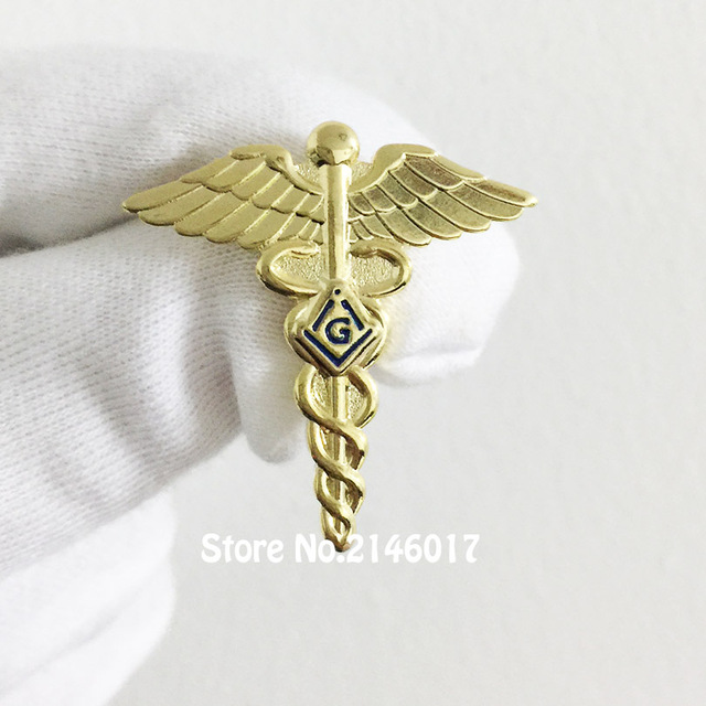 US $49 0 |50pcs Custom Pins and Brooch Masonic Lapel Pin Freemason Lodge  Masonry Wings Snake Symbol Free Masons Medical Doctor Badge-in Pins &  Badges