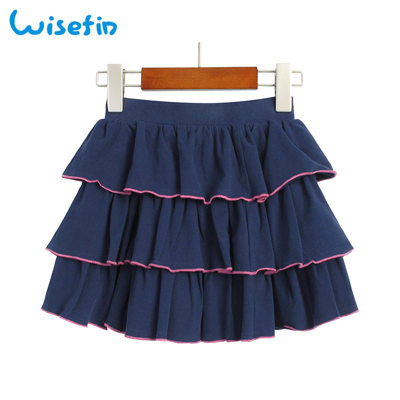 цены Wisefin Kids Clothes Ruffle Skirt Summer Elastic Elegant Children Girl Midi Cake Skirt High Waist Skirt For Big Girl Teenage