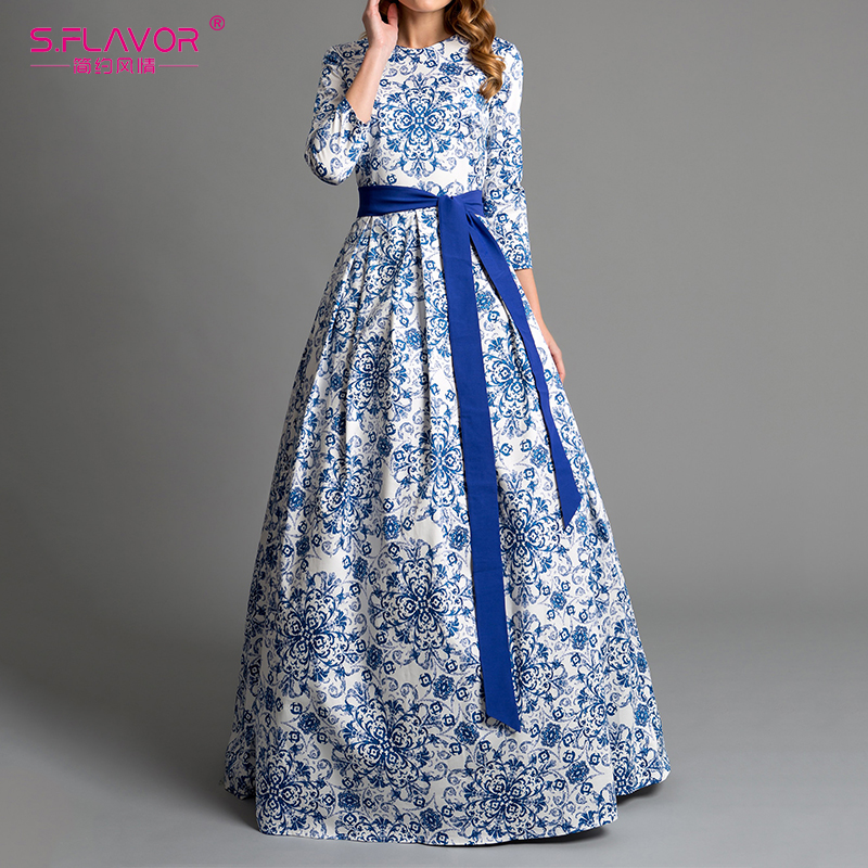 S.FLAVOR Blue Printing Party Long Dress Elegant Women Three Quarter Sleeve Backless Sexy Vestidos Female Bohemian Women Dress