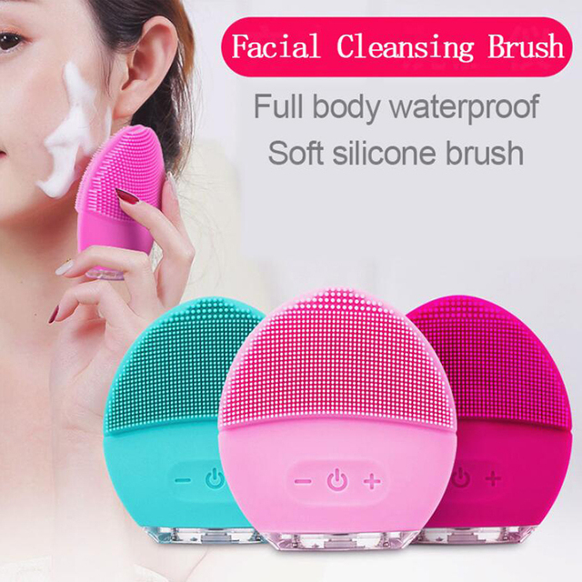 Waterproof Electric Facial Cleansing Brush Smart Ultrasonic Facial Cleaner Vibration Massage Deep Cleansing USB Mini Wash Brush