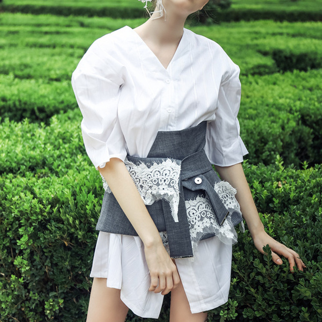 e4aec28fd95 New Runway Women s Long Blouses Two pieces Lace Corset Patchwork 2018  Autumn Female Half Sleeves V-neck Office Lady Wear Shirts