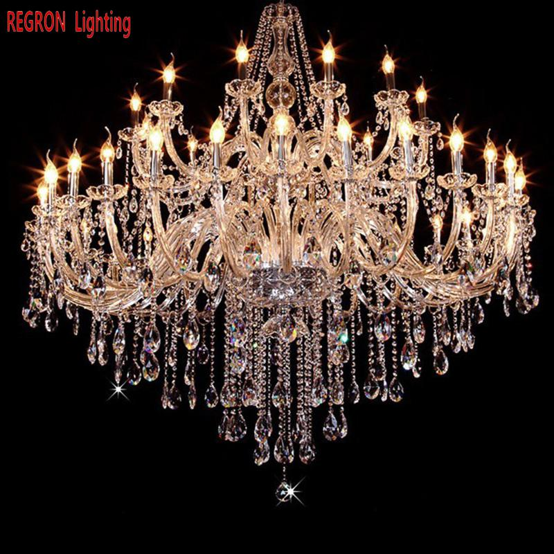 Regron Modern Chandelier Large K9 Crystal Clear E14 Led Chandeliers Brilliant Hanging Light For Church Villa Hall Hotel Banquet