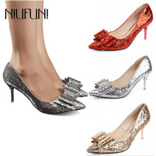 Pointed Toe Bling Wedding Shoes 2018 Spring and Autumn New Pumps Shallow  Mouth Bow Sexy 6cm Glitter Med Heels Pumps Cheap Shoes eac92b071bbf