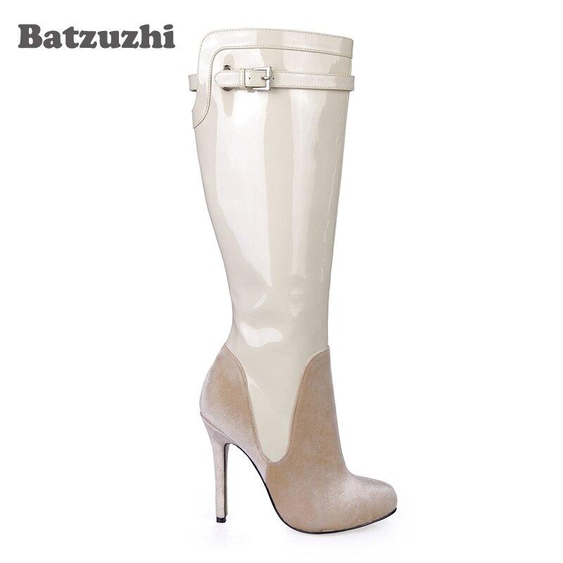 Patente Tacón Picture Cm Anutumn Y Alto Beige De Batzuzhi Cuero Nueva Zapatos As Invierno Mujeres Gamuza 100 Moda Botas Marca Rodilla La Las 12 wFZOgaFq