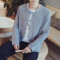 New Linen Thin Jackets Men Fashion Casual Loose Chinese Style Sportswear Bomber Jackets Mens Coats Plus Size M 4XL 5XL