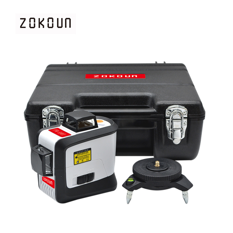 ZOKOUn 12 Lines 3D 94T Self-Leveling 360 Horizontal And Vertical Cross Super Powerful Red Laser Beam Line Laser Level xeast 12 line laser level 360 vertical and horizontal self leveling cross line 3d laser level red beam better than fukuda