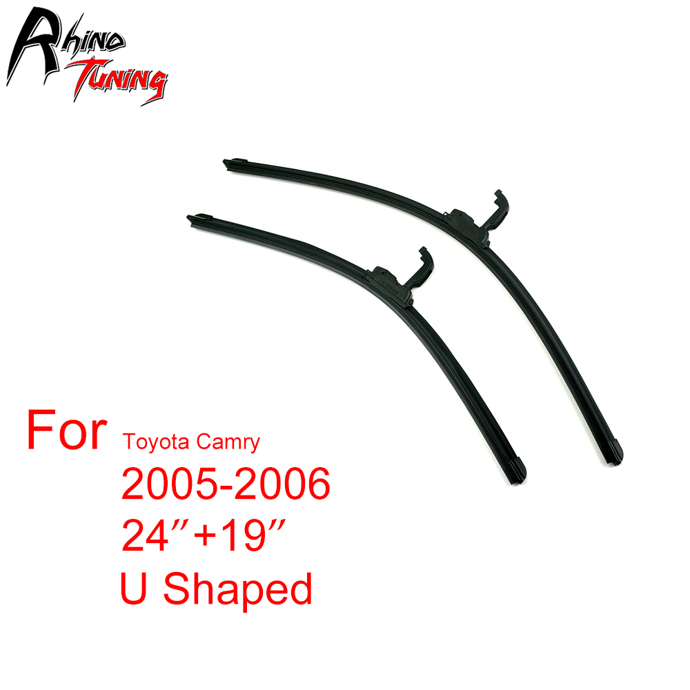 Set  Black Universal U Shaped Windshield Wiper Blade Fit Camry Car