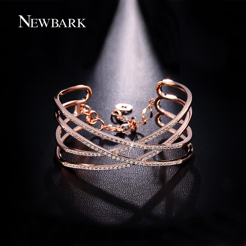 NEWBARK Fashion Copper Jewelry Bracelets&Bangles X Shape Cross Cubic Zirconia Cuff Bracelets With Link Chain Best Jewelry Gift