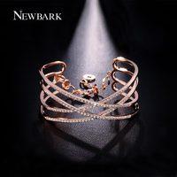 NEWBARK Wide Bracelets Bangles Charm X Shape Cross Cubic Zirconia Paved Rose Gold Color Silver Color