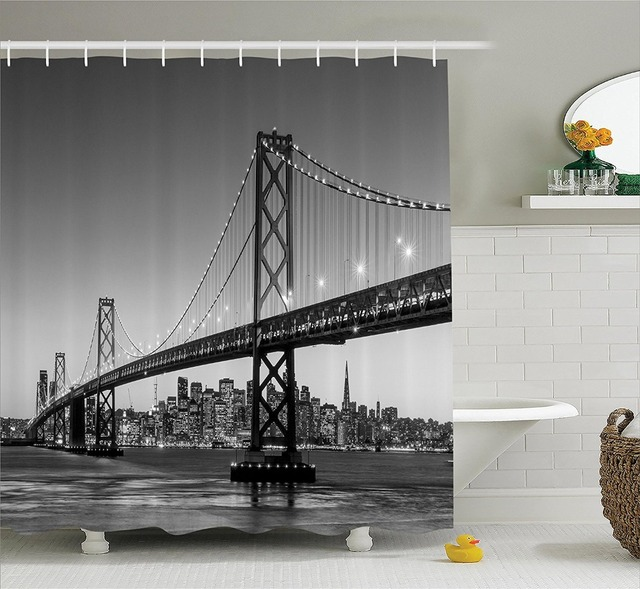 San Francisco Bay Bridge California USA Tourist Shower Curtain Printing Waterproof Mildewproof Polyester Fabric Bath