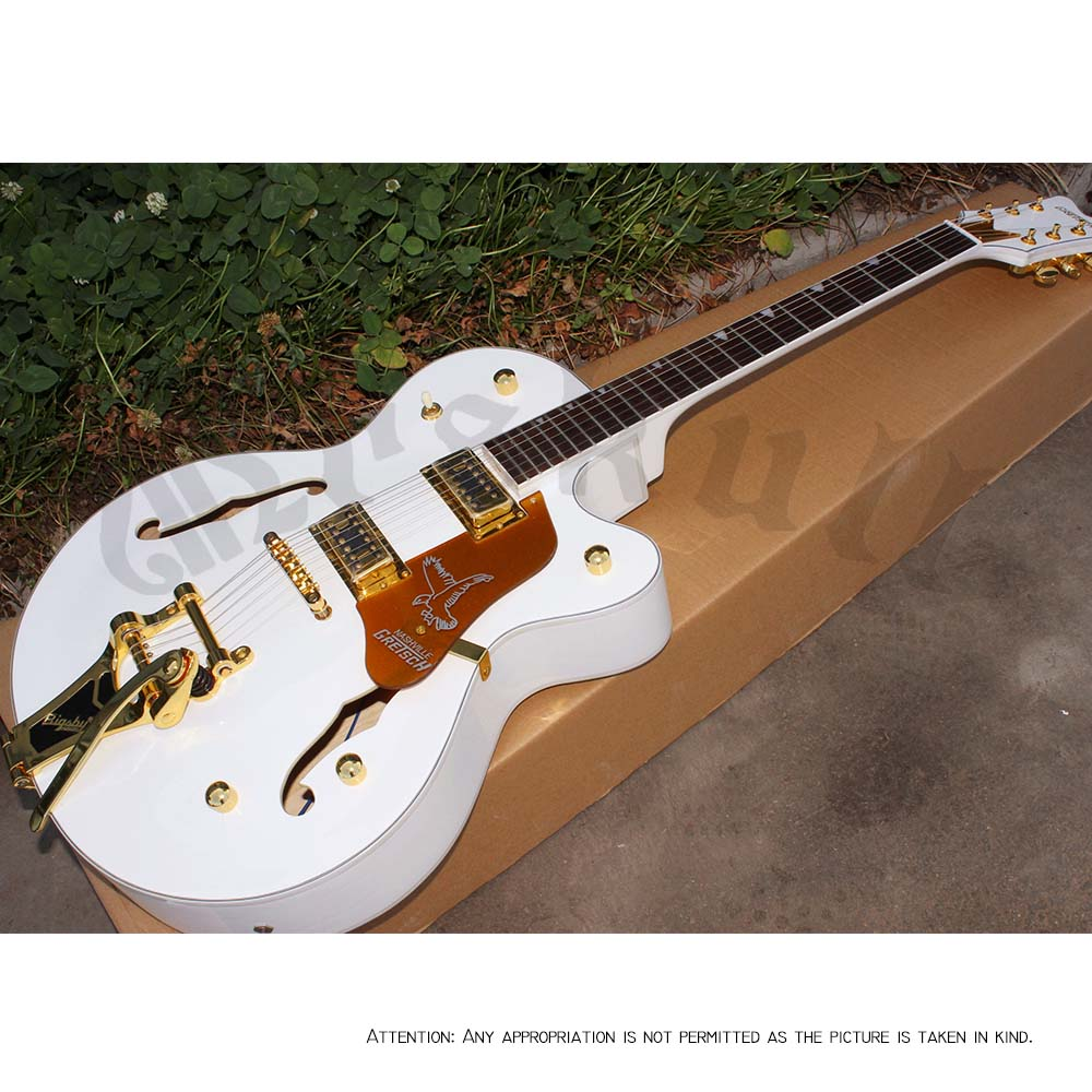OEM Guitars white Gretsch falcon jazz guitar semi hollow boby electric guitar in stock