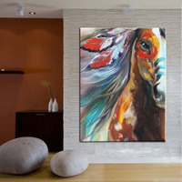 Pure Hand Painted Modern Abstract Oil Painting On Canvas Indian Color Horse Decorative Picture Stretched On Wooden Ready To Hang
