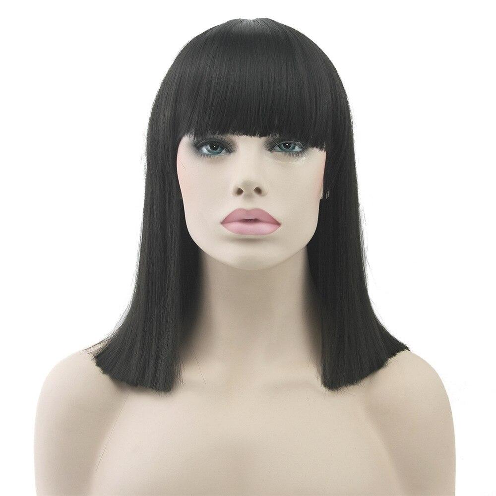 Gres Seidige Gerade Frauen Volle Bang Cosplay Perücken Hohe Temperatur Faser Synthetische Haar Orange/Blau/Blonde Medium Haarteile