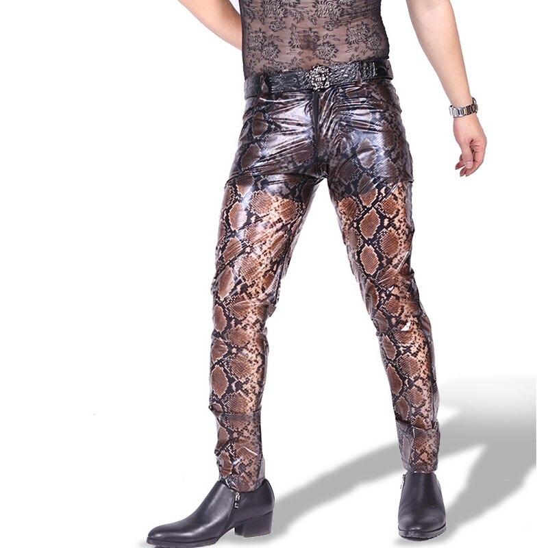 Plus la Taille Imprimé Serpent Mince Transparent PU Pantalon En Cuir Hommes Sexy Pantalon Hombre Streetwear Pantaloni Uomo Crayon Pantalon Clubwear