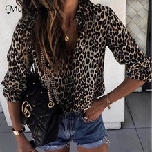 Miguofan Women Blouses And Tops Leopard Print Shirts Female Office Lady Streetwear Fashion Tops Blouse Shirt Summer 2019
