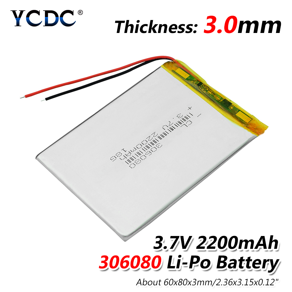 1/2/4 Pcs 2200mAh 306080 Li-polymer Lithium Battery 3.7V Lithium Polymer Rechargeable Batteries With Pcb For Digital Products lp2200 3s 20 11 1v 2200mah lithium polymer battery for r c helicopter black