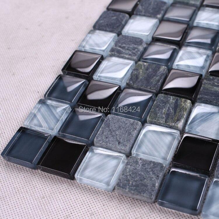 Aliexpress.com : Grau mixed blue glass & stein mosaik fliesen 1x1 ... | {Badezimmer fliesen mosaik grau 94}