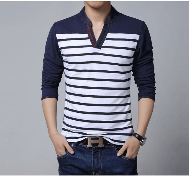ffda2602e44 Bing Mens T-Shirts Tees Striped Long Sleeve New V-Neck Men Patchwork t  Shirt Wear Fashion Slim Fit Tee T-Shirt Brand