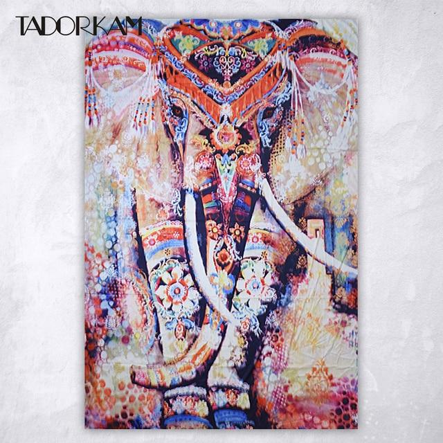 Painting Elephant Mandala Tapestry Indian Printed Bohemian