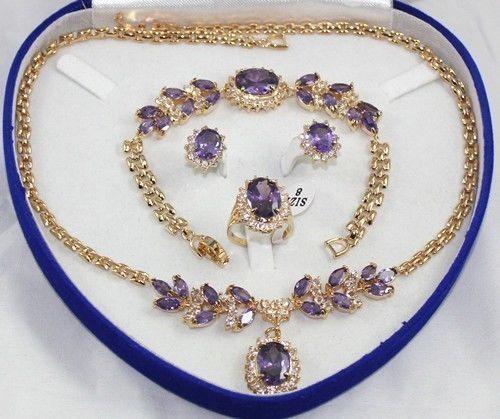Livraison gratuite>> bijoux fantaisie femmes ensemble cristal collier boucle d'oreille anneau Bracelet